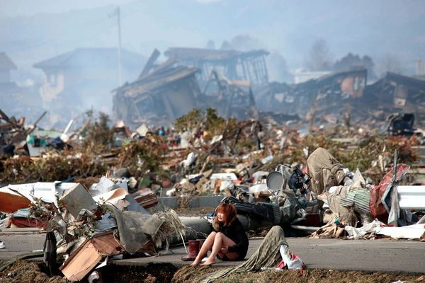 japanese earthquake girl amid total destruction