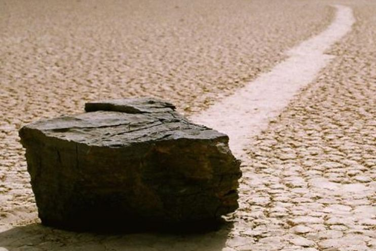 moving stone in Death Valley